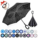 : ZOMAKE Double Layer Inverted Umbrella Cars Reverse Umbrella, UV Protection Windproof Large Straight Umbrella for Car Rain Outdoor With C-Shaped Handle (Rainy Day)