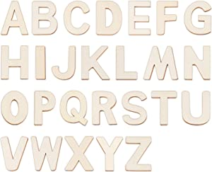 """4"""" Wooden Letters - 52 Pcs Wood Letters for Crafts Unfinished Wood Letters for Wall Decor/Letter Board/DIY/Painted/Educational"""
