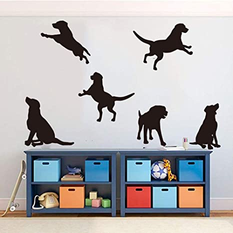 Cute Puppies Wall Decal Funny Dogs Vinyl Sticker Adorable Doggy Art Animal Decorations for Home Kids Room Nursery Bedroom Pet Decor ps1