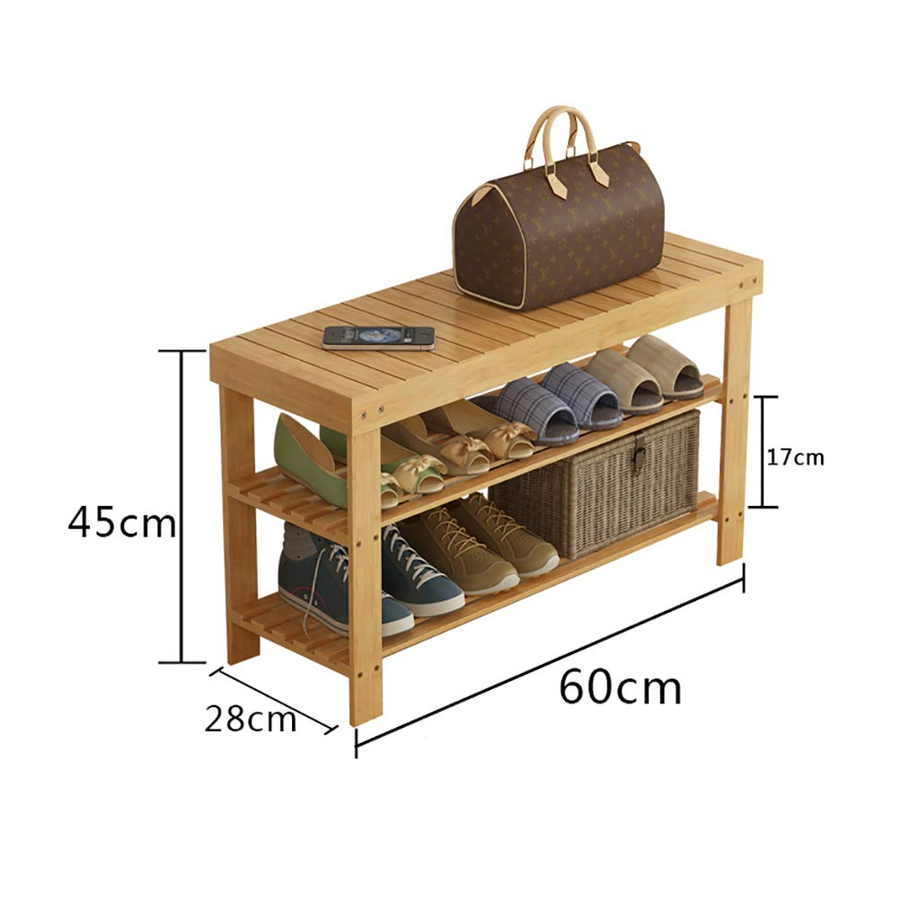 A 602845CM Entrance shoes Rack shoesbox Change shoes Bench Shelf Storage Shelf Multifunction 2 Layer Household Dorm Room Space Saving Doorway Bamboo (color   B, Size   80  28  45CM)