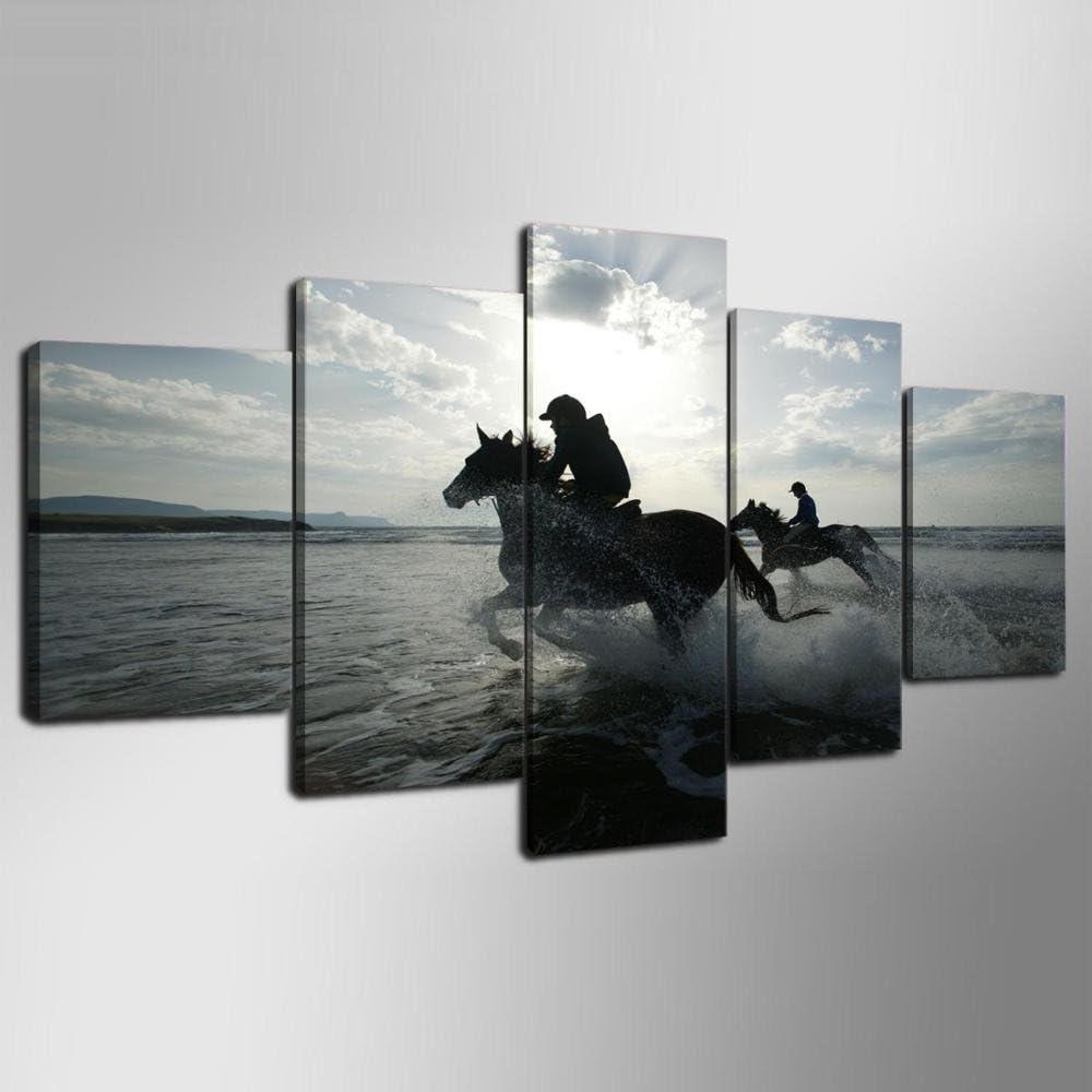 SDALD Impresión de Lienzo 5 Pieza 200x100CM Cuadro sobre lienzo Paisaje de carreras de caballos Cuadros para sala de estar con 5 paneles, Cuadros de decoración moderna Pintura de Paneles múltiples Cua
