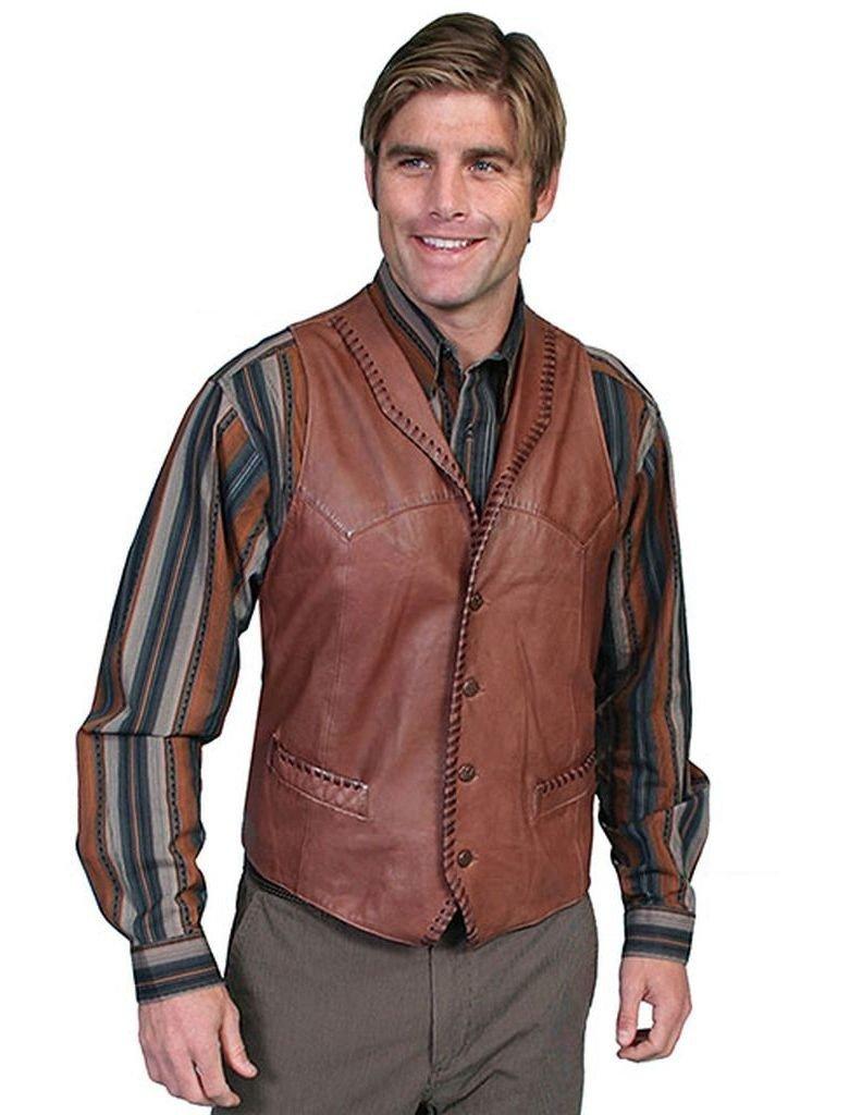 Scully Men's Whipstitch Lamb Leather Vest Tan Medium