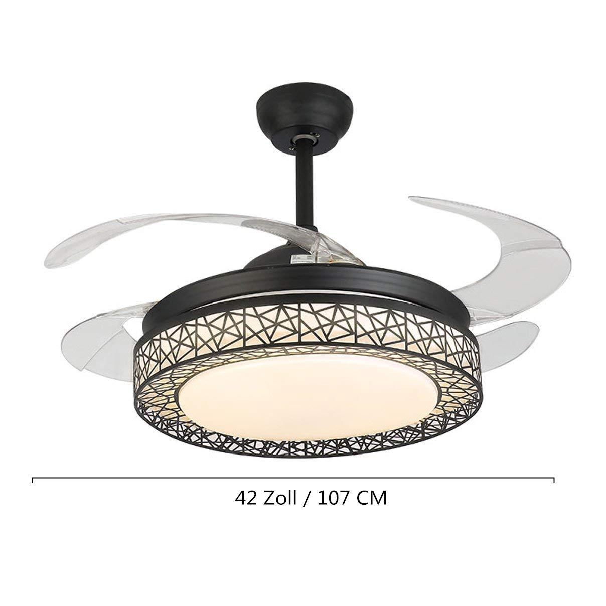 Charmant Kaluori 42 Zoll Deckenventilatoren 4 Einziehbare Lamellen LED  Deckenventilator Drei Farbwechsel Kristall Kronleuchter Mit Fernbedienung  (Black): Amazon.de: ...