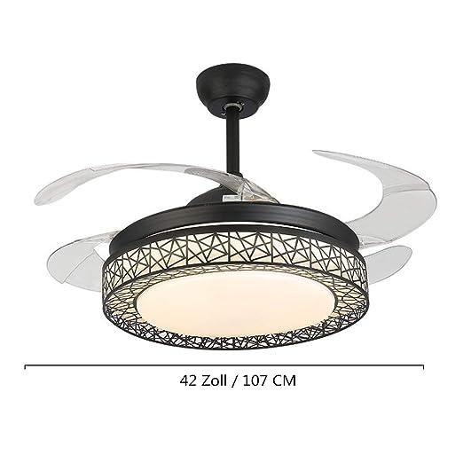 Kaluori 42 Zoll Deckenventilatoren 4 Einziehbare Lamellen LED  Deckenventilator Drei Farbwechsel Kristall Kronleuchter Mit Fernbedienung  (Black): Amazon.de: ...