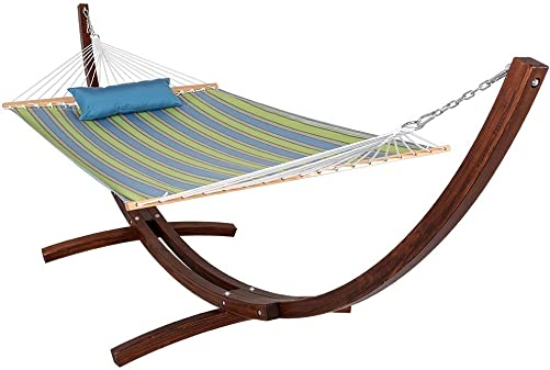 Lazy Daze Hammocks Sunbrella Fabric Hammock, Pillow and 12 Feet Wood Arc Stand, Backyard Combo Set, Bravada Limelite