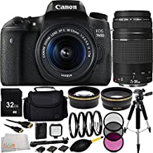 Canon EOS 760D/T6s DSLR Camera with EF-S 18-55mm f/3.5-5.6 IS STM Lens + Canon EF 75-300mm f/4-5.6 III Lens + 32GB Bundle + 15PC Accessory Kit