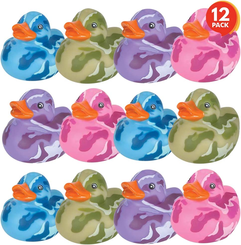 ArtCreativity 2 Inch Camouflage Rubber Duckies, Pack of 12, Cute Duck Bath Tub Pool Toys in Assorted Colors, Ideal for Camo-Themed Parties, Fun Decorations, Carnival Supplies, Party Favor, Small Prize