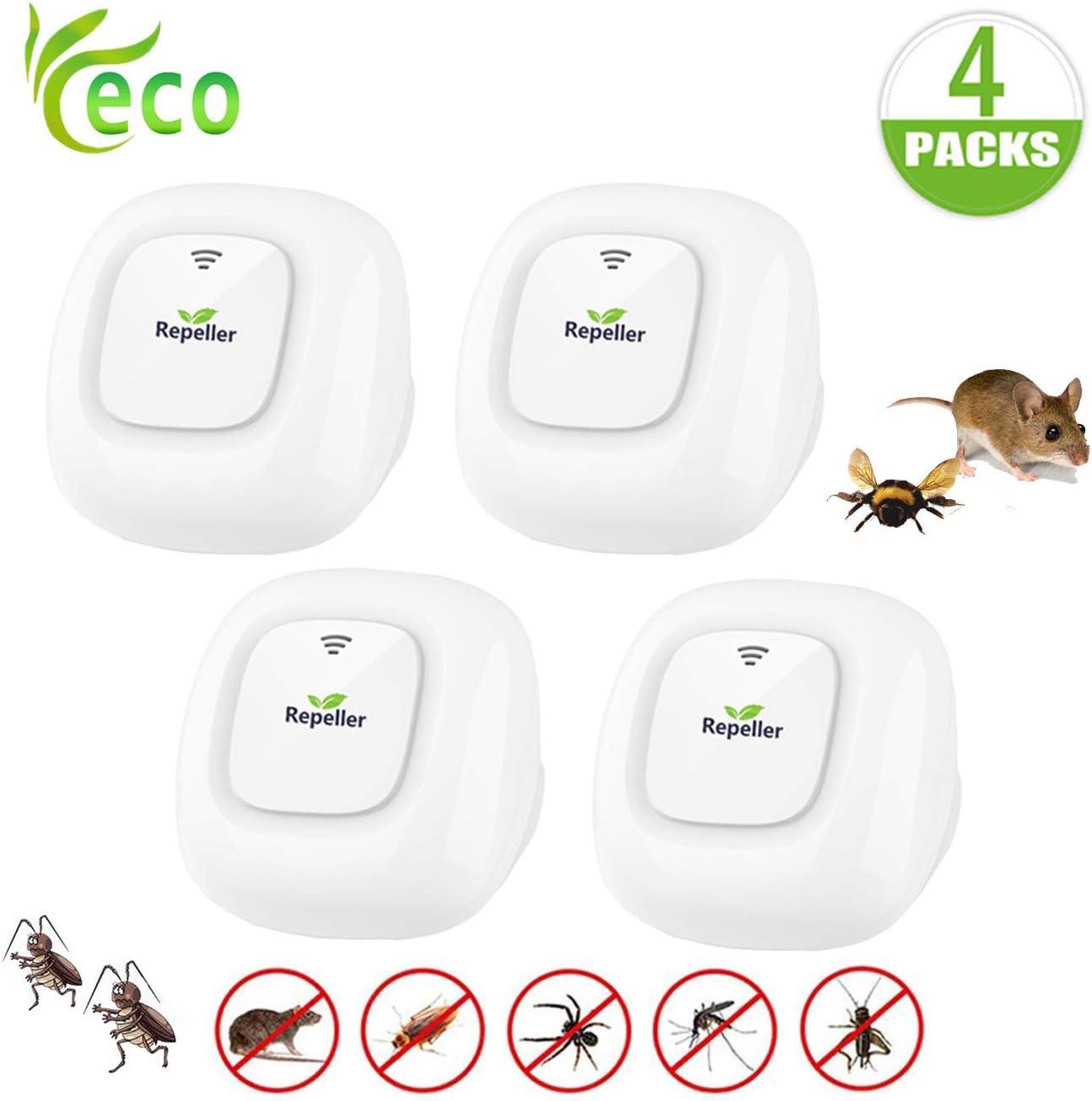 ZHENROG Repelente Ultrasónico Mosquitos 2020 Control de Plagas para Las Moscas,Cucarachas, Arañas, Hormigas, Ratas y Ratones, Insectos Antimosquitos Eléctrico Extra Fuerte para Interiores (4-Pack)
