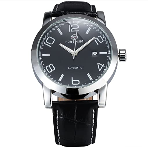 Forsining Mens Day Auto Mechanical Watches Business Wristwatch Leather Strap Automatic Watch