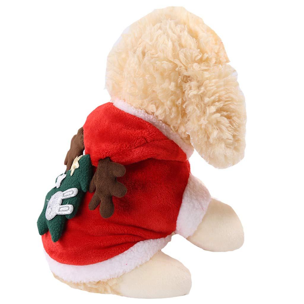 Santa Elk Palo de Navidad Alces Ropa para Perros Y Mascotas Ropa para Espesar TwoCC Ropa para Mascotas Navide/ñas Vestido de /Árbol Verde Gato para Mascotas Perro Ropa de Abrigo de Invierno