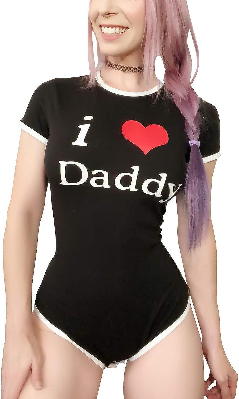 LittleForBig Adult Baby Diaper Lover Mad Love Onesie Button Crotch Adult Baby Onesie Bodysuit ABDL
