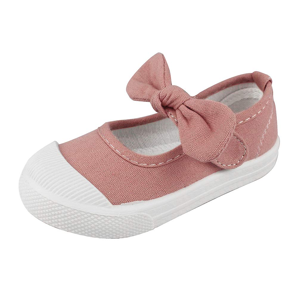 Girls' School Uniform Dress Shoe Kids Canvas Bowknot Mary Jane Flat Sneakers, Pink 11 M