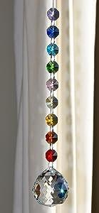 Crystal Sphere Sun-catcher Hanging Ornament, Chakra Rainbow Decoration, Window Suncatcher