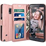 Note 4 Case, LK Galaxy Note 4 Wallet Case, Luxury PU Leather Case Flip Cover with Card Slots & Stand For Samsung Galaxy Note 4, ROSE GOLD