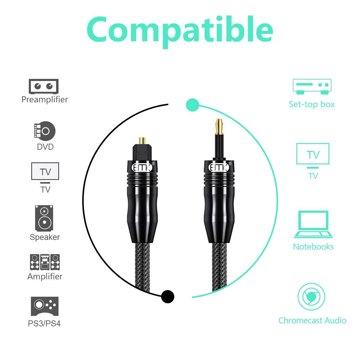 TV PS4 Emk fibra ottica Cord per home Theater Xbox /& More 3M Cavo audio ottico digitale Toslink cavo Sound Bar giacca in nylon intrecciato, durevole e flessibile
