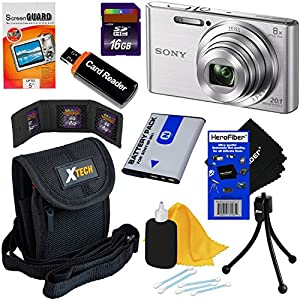 Sony Cyber-shot DSC-W830 20.1 MP Digital Camera with 8x Zoom & Full HD 720p Video (Silver) - International Version (No Warranty) + NP-BN1 Battery + 8pc 16GB Accessory Kit w/ HeroFiber Cleaning Cloth