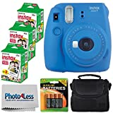 Fujifilm instax mini 9 Instant Film Camera (Cobalt Blue) + Fujifilm Instax Mini Twin Pack Instant Film (60 Exposures) + Compact Camera Case + 4 AA Batteries + Cleaning Cloth - Full Accessory Bundle