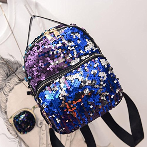 Bag Fashion Blue Girls Backpack Kolylong Travel School Satchel Sequins Women School Bag Blue Bag S6UTWq4S