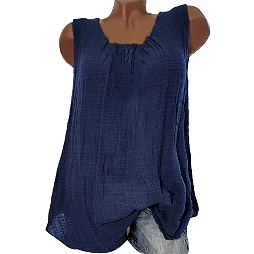 a71c340d7a TnaIolral Women T-Shirt Cotton Linen Sleeveless Baggy Vest Tee Blouse Tank Tops  Blue