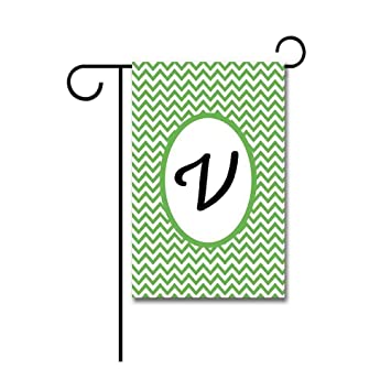 Exceptionnel Hamory Green Stripes Monogram V Garden Flags Yard Banner With Initials  12.5X18 Inch Printed Both