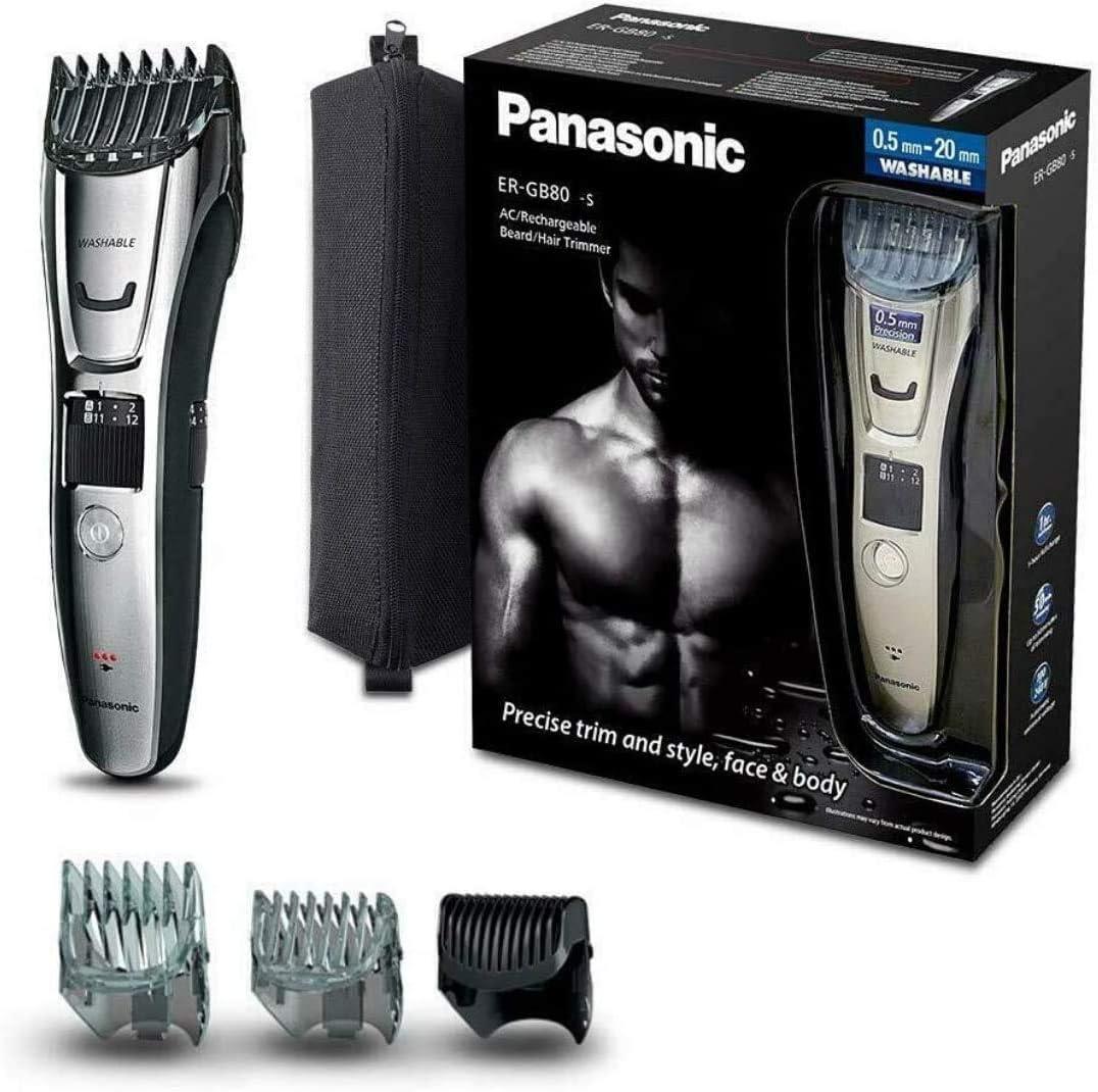 Panasonic ER-GB80-S503 - Cortapelos impermeable con Peine-Guía 3 en 1 barba, cabello y cuerpo (recargable, acero inoxidable, lavable, batería larga duración, 39 ajustes, 3 peines incluidos), plata