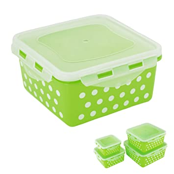 Locking Square Airtight Food Storage Container Set Of 8, Lime Green