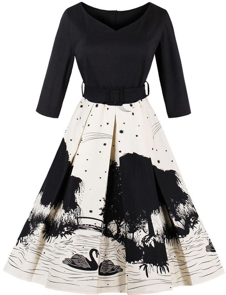Ayli Women's Portrait Neck 3/4 Sleeve 1950s Retro Swan Midi Dress, Black, US-16/Tag-2XL/02w054