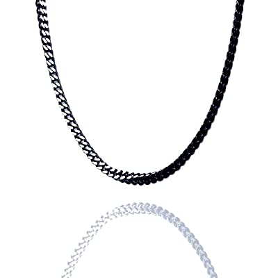 Polished Black Stainless Steel Square Wheat Link Chain Men/'s Necklace 22 Inches