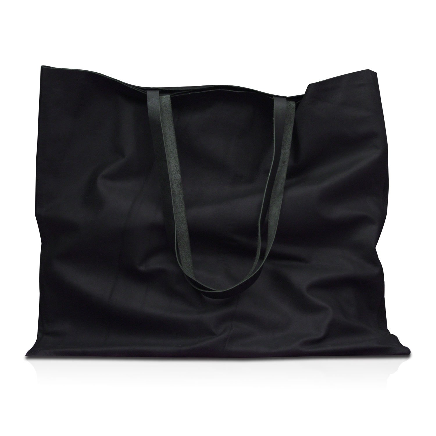 MONT5 Katpana Black Leather Shopping Bag - Multi Purpose Everyday Bag - Market Bag by Xport Designs