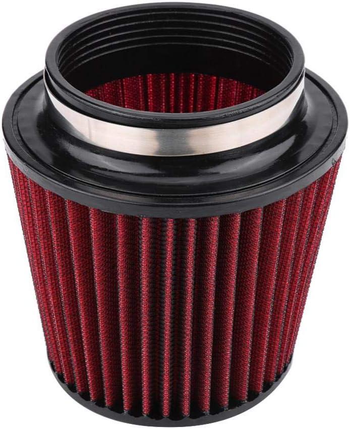 konisch 113-155mm Universal Sport-Luftfilter Rot mit Chrom-Deckel Ø 88mm