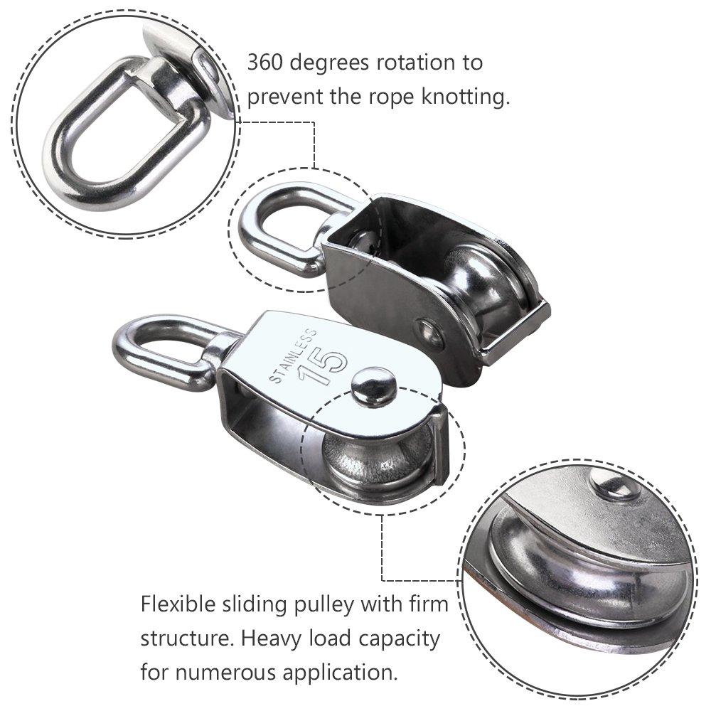 IMAGINE 2pcs M15 plata sola polea bloque 304 acero inoxidable solo rueda Wirerope tracci/ón carretilla gr/úa giratoria gancho polea carga de rodillo 35kg M15