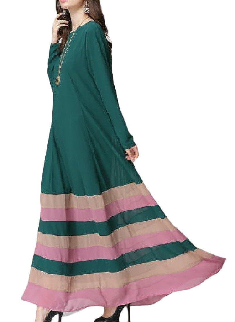 c366c7233d5 Zimaes-Women Rainbow Plus Size Long Sleeve Spring Fall Long Maxi Dress at  Amazon Women s Clothing store