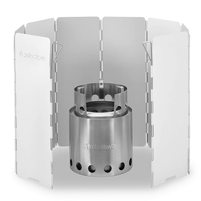 Solo Stove Wood Burning Emergency Stove w/Aluminum Windscreen - Light Weight Compact Design Perfect for Survival, Camping, Hunting & Backpacking.