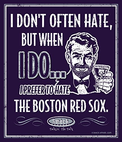 Smack Apparel NY Baseball Fans. I Prefer to Hate The Boston Red Sox 12'' X 14'' Metal Man Cave Sign