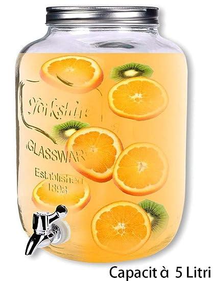 dispensador Bebidas con grifo de cristal Transparente, distribuidor con tapa de metal, Transportable,