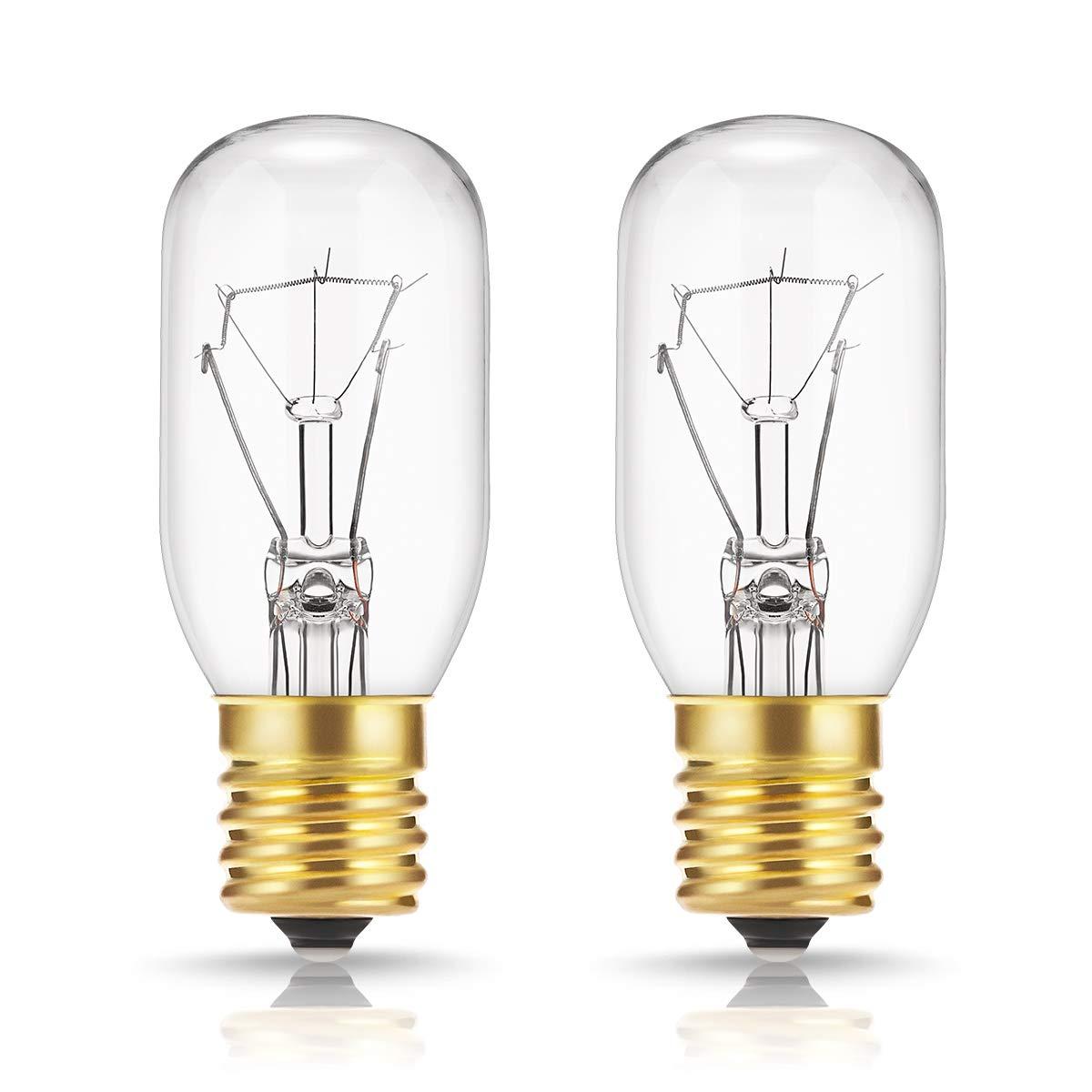 40 Watt Appliance Light Bulb, DORESshop T8 Tubular Incandescent Light Bulbs, Microwave Oven Replacement Bulb, E17 Indicator Intermediate Base, Dimmable, Warm Whte Glow, 2Pack