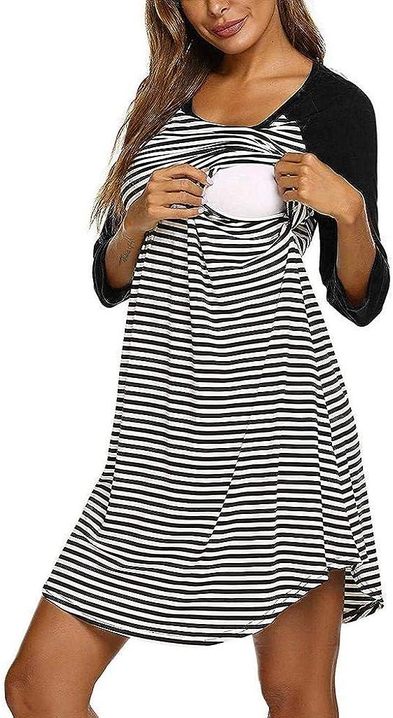 Jimmackey Pigiama Camicia da Notte Premaman da Abito Donna Morbido in Cotone 3//4 Manica Lunga A Strisce Vestito Abiti da Notte per Parto Ospedale Allattamento