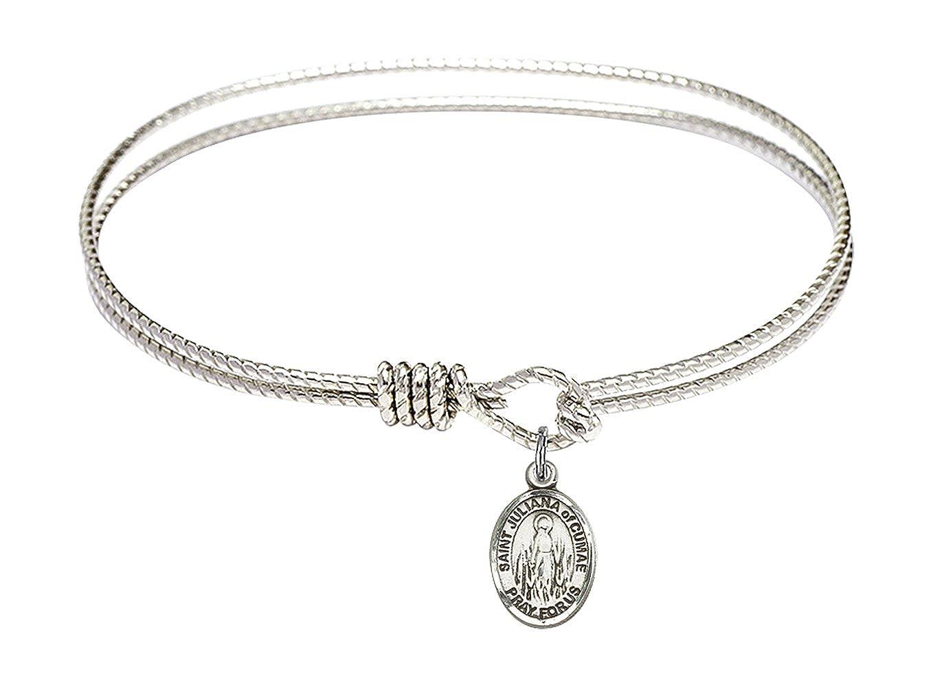 Bonyak Jewelry Oval Eye Hook Bangle Bracelet w//St Juliana of Cumae in Sterling Silver