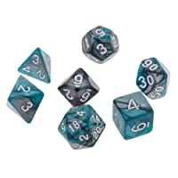 MagiDeal 7 pieces Polyhedral Dice for Dungeons and Dragons DND MTG RPG D20 D12 D10 D8 D6 D4 Green