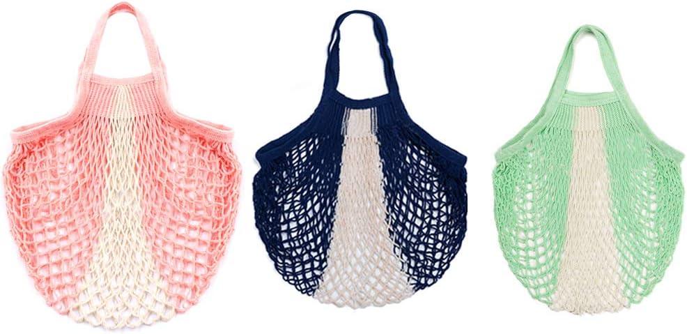 Pveath - Bolsas de malla de alimentos (3 unidades), reutilizables, lavables, de algodón orgánico Rosa y verde.: Amazon.es: Jardín