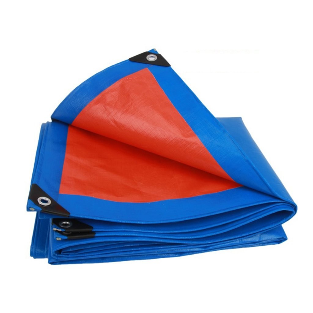 Teloni Tenda Impermeabile in Tessuto Impermeabile Telo Impermeabile in plastica, Spessore 0,38 mm, 200 g   m2, 14 opzioni di Dimensioni, Blu + Arancio (Dimensioni   5  6m)