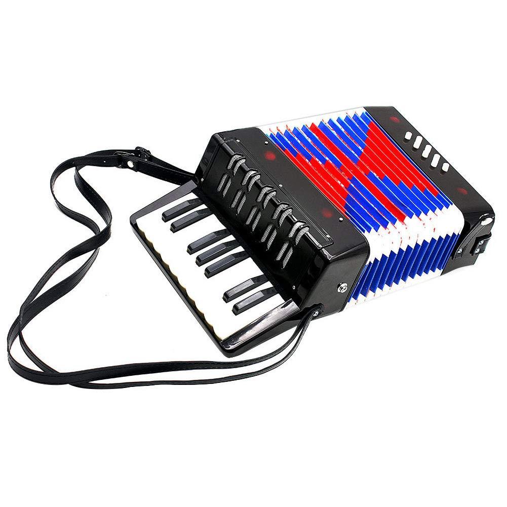 Children Accordion, Kids Mini 17-Key 8 Bass Piano Accordion Educational Musical Instrument (Black)