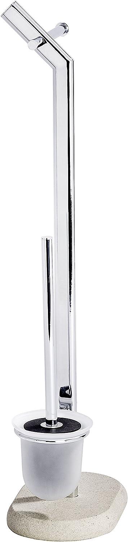 Plateado 15.5x29x275 cm Wenko Puro Portarrollos con Escobillero Acero