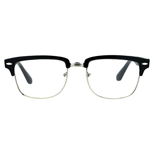 67d5e77d12 Amazon.com  Half Rim Horned Rectangular Horned DJ Optical Glasses ...