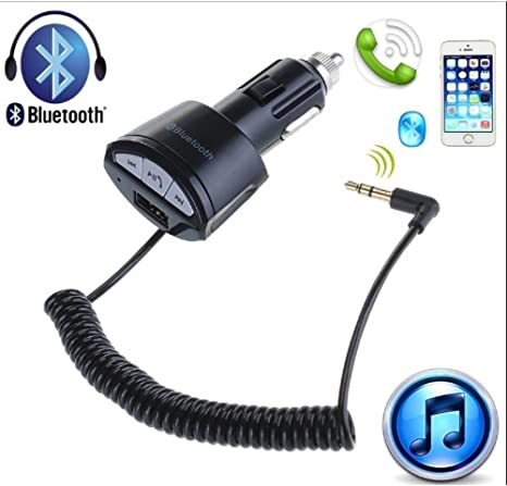FM Transmitter Bluetooth3.0 A2DP Car Music Hands-Free 3.5mm AUX Receiver Stereo Audio Adapter with 5V//2.1A USB Car Charger.