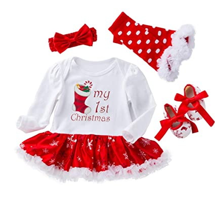 XOXO Precioso Baby Girl Halloween Costume - Ropa Christmas Socks Jumpsuit Tutu Dress Regalos - 4PCS
