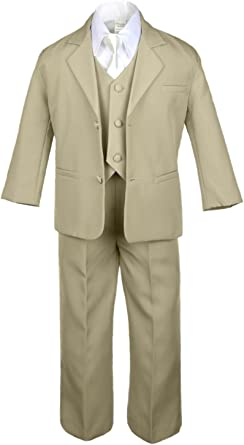 Unotux 6pc Boys Khaki Tuxedo Suits with Satin Ivory Necktie from Baby to Teen