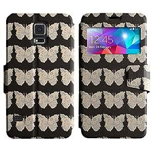 LEOCASE patrón llano Funda Carcasa Cuero Tapa Case Para Samsung Galaxy S5 I9600 No.1006897