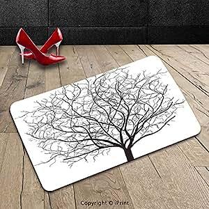 Custom lavable Felpudo (apartamento Decor un viejo Withered Oak corona sin hojas árbol ramas ilustración negro y blanco para interiores/al aire libre Felpudo alfombra alfombra alfombra