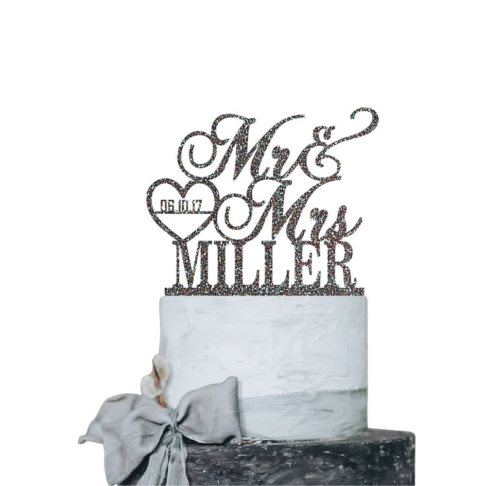 P Lab Personalized Cake Topper Mr. Mrs. Last Name Custom Date 2 Wedding Cake Topper Acrylic Decoration for Special Event Rainbow Glitter